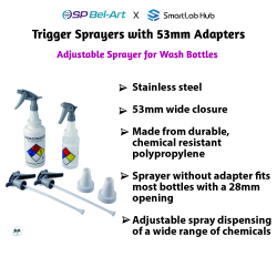Bel-Art Polypropylene Trigger Sprayers w/ 53mm Adapters (Pack of 2)