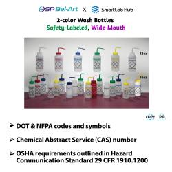 Bel-Art 2-Color Wash Bottles (Safety-Labeled & Wide-Mouth)