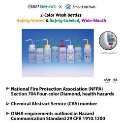 Bel-Art 2-Color Wash Bottles (Safety-Vented, Safety-Labeled & Wide-Mouth)