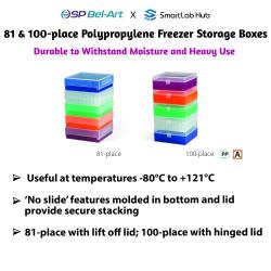 Bel-Art 81 & 100-place Polypropylene Freezer Storage Boxes