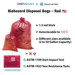 Bel-Art Biohazard Disposal Bags - Red
