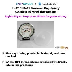 Bel-Art H-B DURAC® Maximum Registering / Autoclave Bi-Metal Thermometers