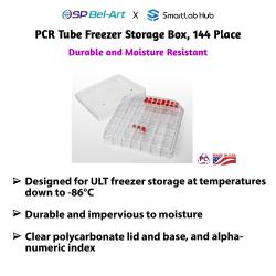 Bel-Art PCR Tube Freezer Storage Box, 144-place