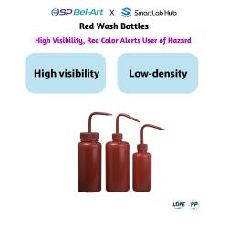 Bel-Art Red Wash Bottles
