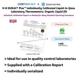 Bel-Art H-B DURAC® PlusTM Individual Calibrated Liquid-in-Glass Laboratory Thermometers; Organic Liquid Fill