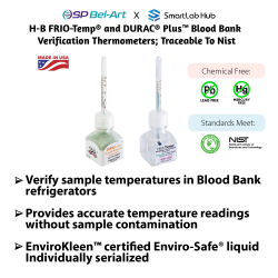 Bel-Art H-B FRIO-Temp® and DURAC® Plus™ Blood Bank Verification Thermometers; Traceable to NIST