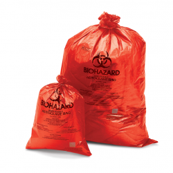 Bel-Art Red Biohazard Disposal Bags with Warning Label/Sterilization Indicator; 1.5mil Thick, 5-9 Gallon Capacity, Polypropylene (Pack of 200)