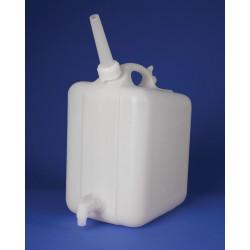 Bel-Art Polyethylene Jerrican with Spigot; 10 Liters (2.5 Gallons), Screw Cap, ¾ in. I.D. Spout