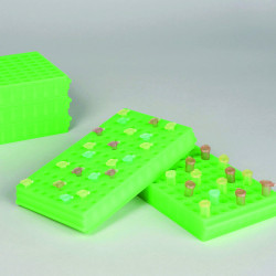 Bel-Art Microcentrifuge Tube Rack; For 0.5 or 1.5-2.0ml Tubes, 96 Places, Fluorescent Green (Pack of 5)