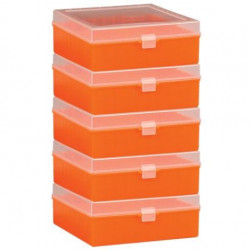 Bel-Art 100-Place Plastic Freezer Storage Boxes; Orange (Pack of 5)