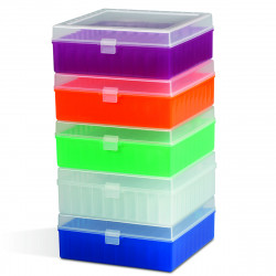Bel-Art 100-Place Plastic Freezer Storage Boxes; Assorted Colors (Pack of 5)