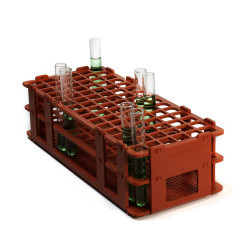 Bel-Art No-Wire Test Tube Rack; For 10-13mm Tubes, 90 Places, Red