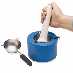 Bel-Art Liquid Nitrogen Cooled Mortar; Stainless Steel Ladle and Reservoir; 6½ in. D x 4½ in. H
