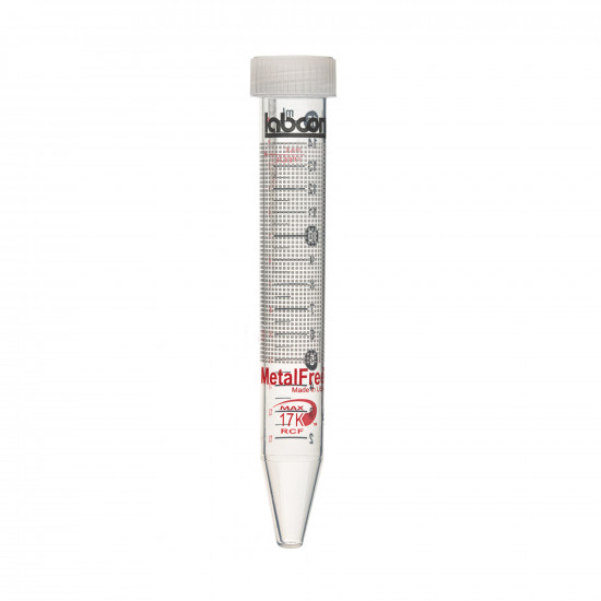 Labcon 15 mL MetalFree™ Centrifuge Tubes with Flat Caps, 50 per Bag, Sterile (50pcs x 10 bags)