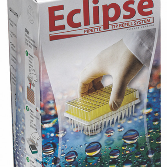 Labcon Eclipse™ 200 uL Beveled Point Yellow Pipet Tips, in Eclipse™ Refills (960pcs x 10 packs)